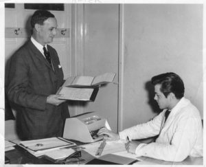 Ken Crook with Jim Brame (Works Manager)