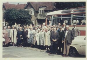Over-60s outing Mr Creasey, a railway porter, is the tall dark-haired man at the back, 5th from right