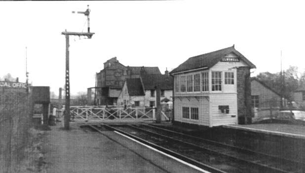 525b1c4f986b46 Crown Mill and the former Crown beer house can be seen in the background.  The signal box was demolished in 1986 after the Haughley to Bury St Edmunds  ...